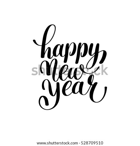 Happy New Year hand lettering congratulate inscription, Christmas greeting card, calligraphy vector illustration