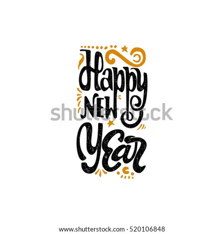 Happy new year 2017 hand-lettering text . Handmade vector calligraphy for your design
