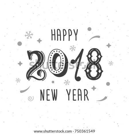 happy new year 2018 hand written modern brush lettering clipart trendy hand lettering style