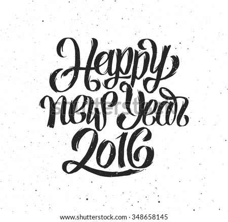 Happy New Year 2016 handmade greeting card design. Chinese Calligraphy for Year of the Monkey 2016. Vector illustration. 2016 year handdrawn lettering on vintage grunge background. Retro poster