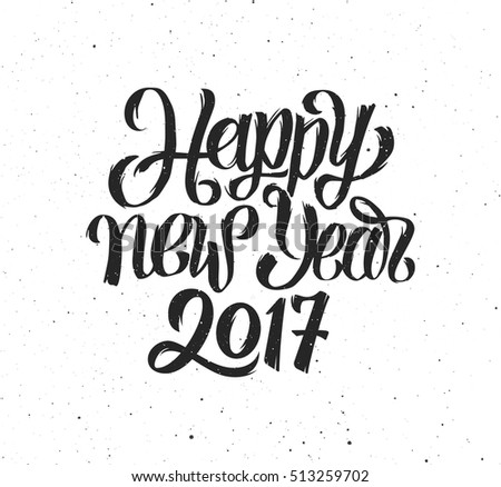 happy new year 2017 handmade greeting card design vector illustration with hand drawn lettering on