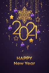 Happy New 2021 Year. Hanging Golden metallic numbers 2021 with shining snowflake, 3D metallic stars, balls and confetti on purple background. New Year greeting card or banner template. Vector.