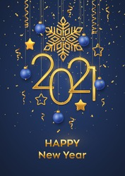 Happy New 2021 Year. Hanging Golden metallic numbers 2021 with shining snowflake, 3D metallic stars, balls and confetti on blue background. New Year greeting card or banner template. Vector.