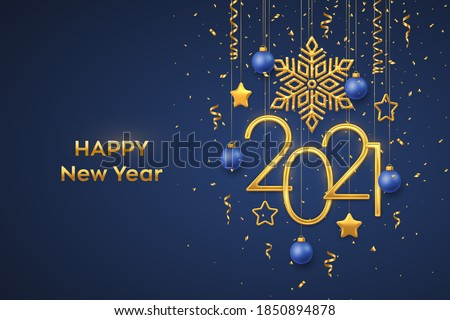 Happy New 2021 Year. Hanging Golden metallic numbers 2021 with shining snowflake, 3D metallic stars, balls and confetti on blue background. New Year greeting card or banner template. Vector. Stockfoto ©