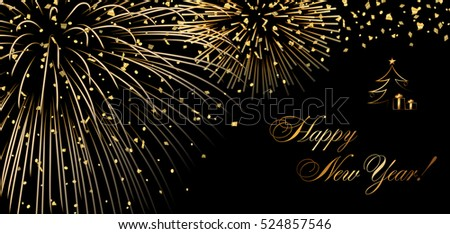 happy new year holiday background gold abstract firework for card greeting xmas celebrate