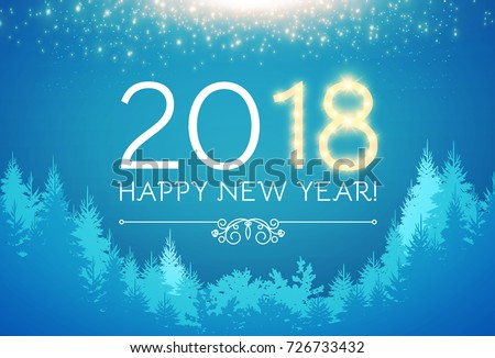 happy new 2018 year holiday background with coniferous forest lights and snow vector
