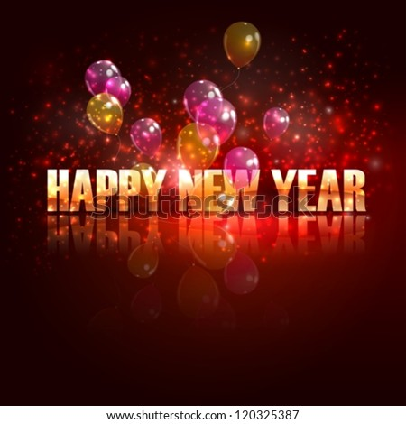 stock vector : happy new year. holiday background with flying balloons