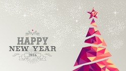 Happy new year 2016 holiday decoration greeting card or poster design with colorful triangle christmas pine tree and vintage label illustration. EPS10 vector.