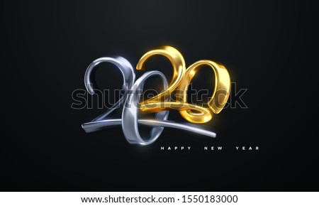 Happy New 2020 Year. Holiday vector illustration of golden and silver metallic calligraphic numbers 2020. Realistic 3d sign. Festive poster or banner design. Modern lettering composition. Jewelry logo