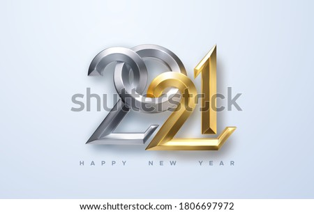 Happy New 2021 Year. Holiday vector illustration of golden and silver metallic calligraphic numbers 2021. Realistic 3d sign. Festive poster or banner design. Modern lettering composition