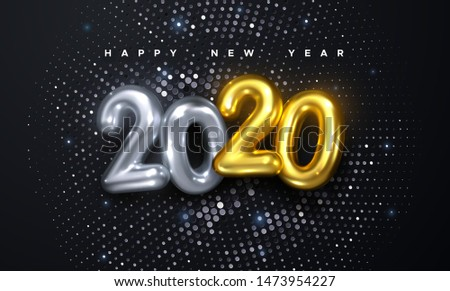 Happy New 2020 Year. Holiday vector illustration of golden and silver metallic numbers 2020 and glittering halftone pattern. Realistic 3d sign with sparkling strass. Festive poster or banner design
