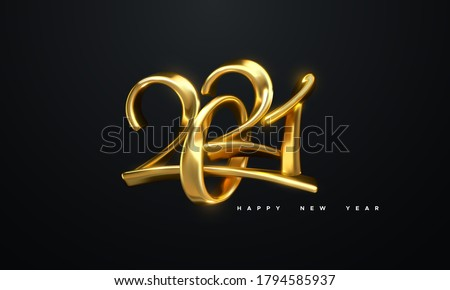 Happy New 2021 Year. Holiday vector illustration of golden metallic calligraphic numbers 2021. Realistic 3d sign. Festive poster or banner design. Modern lettering composition