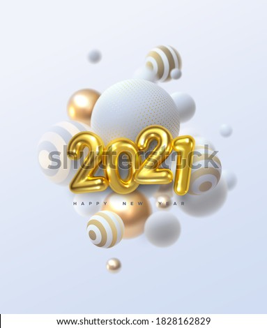 Happy New 2021 Year. Holiday vector illustration of golden metallic numbers 2021 and abstract balls or bubbles. Realistic 3d sign. Festive poster or banner design. Party invitation
