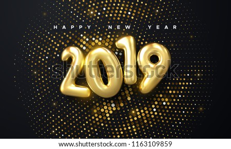 Happy New 2019 Year. Holiday vector illustration of golden metallic numbers 2019 and glittering halftone pattern. Realistic 3d sign. Festive poster or banner design