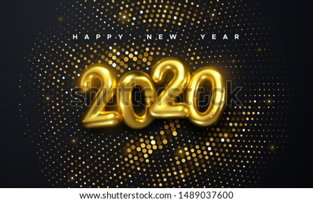 Happy New 2020 Year. Holiday vector illustration of golden metallic numbers 2020 and glittering halftone pattern. Realistic 3d sign. Festive poster or banner design