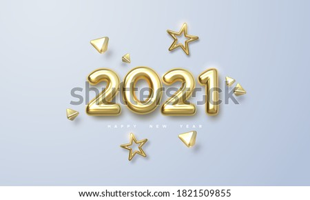 Happy New 2021 Year. Holiday vector illustration of golden metallic numbers 2021 and ornamental shapes. Realistic 3d sign. Festive poster or banner design