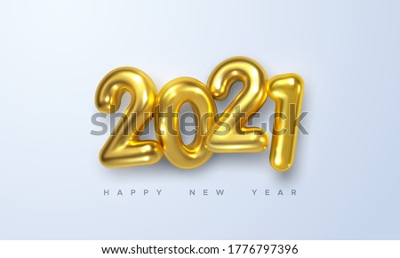Happy New 2021 Year. Holiday vector illustration of golden metallic numbers 2021. Realistic 3d sign. Festive poster or banner design