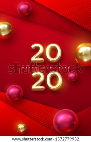 Happy New 2020 Year. Holiday vector illustration of golden metallic numbers 2020 with christmas balls. Realistic 3d sign. Red papercut background. Festive poster or stories template design
