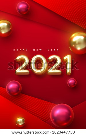 Happy New 2021 Year. Holiday vector illustration of golden metallic numbers 2021 with christmas balls. Realistic 3d sign. Red papercut background. Festive poster or stories template design