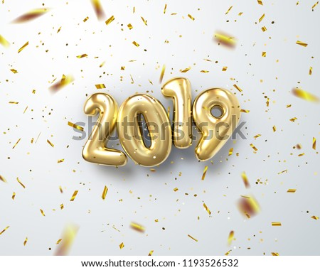 Happy New 2019 Year. Holiday vector illustration of golden metallic numbers 2019 with falling confetti particles. Realistic 3d sign. Festive poster or banner design. Festive sparkling ornament