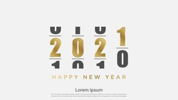 Happy New 2021 Year. Holiday vector illustration of Golden numbers 2021 loading background.