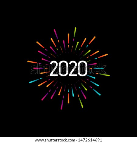 Happy New 2020 Year. Holiday vector illustration with festive typographic composition. New Year 2020 Label With Graphic Multicolored Firework Shape. Happy NYE Logo Design