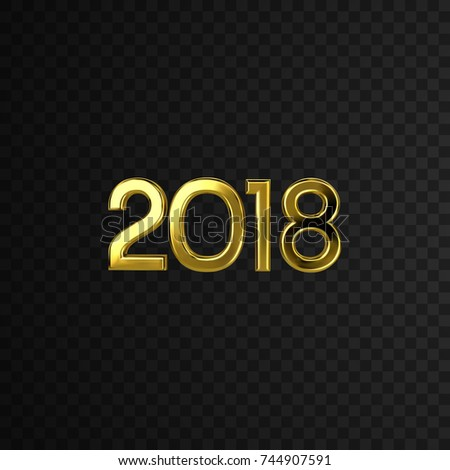 Happy 2018 New Year. Holiday Vector Illustration With Golden 2018 Numbers Isolated On Black Transparent Background. Decorative Element For Festive Design #744907591