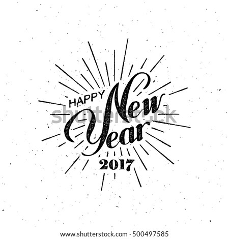 Shutterstock Happy New 2017 Year. Holiday Vector Illustration With Lettering Composition with burst