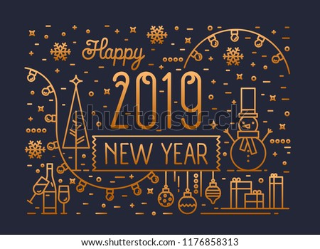 Happy New Year horizontal banner, greeting card or postcard template with holiday decorations, gifts and garlands drawn with golden lines on black background. Vector illustration in lineart style.