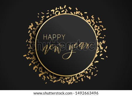Happy New Year illustration. Vector background with gold confetti. Abstract greeting or invitation card