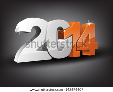 Happy new year 2014 in 3D with orange 14 and grey 20. (EPS10 Vector)