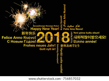 happy new year in different languages greeting card concept