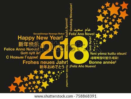 Happy New Year in different languages with stars greeting card concept