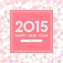 happy new year 2015 in square with triangle pattern on pink background (vector)