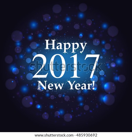 happy new year inscription on firework background