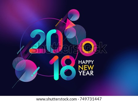 happy new year 2018 isolated on galactic background colorful text design vector elements for