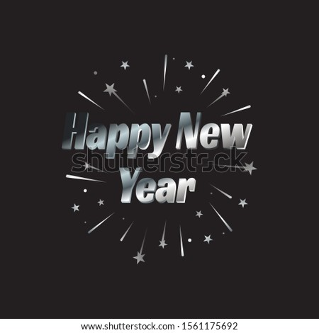 Happy New Year letter modern background.  january 1 holiday background with building and splashing fireworks  for celebrating new year moments Vector illustration EPS.8 EPS.10