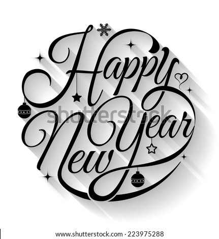 Happy New Year, lettering Greeting Card design circle text frame on shadows.Vector illustration.