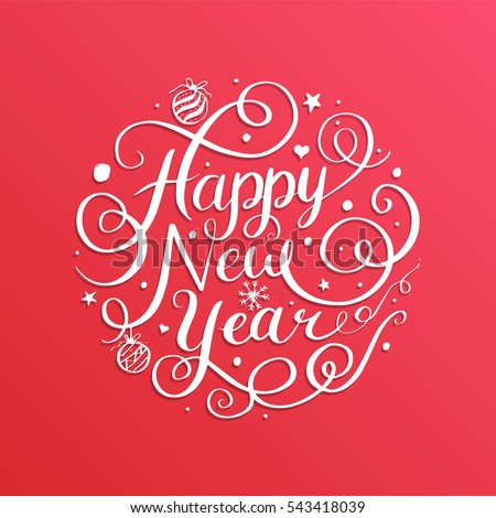 Happy New Year, lettering Greeting Card design circle text frame. Vector illustration.