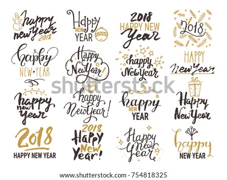 Happy New Year 2018 lettering. Handwritten emblem, text design with golden festive symbols for congratulation card, party invitation, banner, poster, flyer templates. Isolated vector set on background