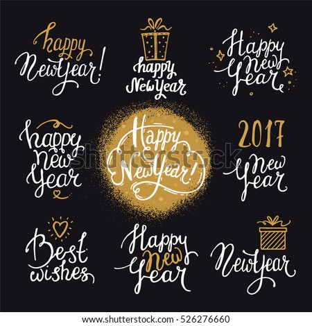 Happy New Year lettering. Handwritten texts set made with ink. Design for congratulation card, party invitation, banner, poster, flyer templates, golden texture. Isolated vector on white background.