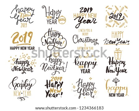 Happy New Year 2019 lettering. Isolated vector set. Handwritten new year emblem, text design, golden festive symbols for congratulation card, party invitation, banner, poster, flyer templates.