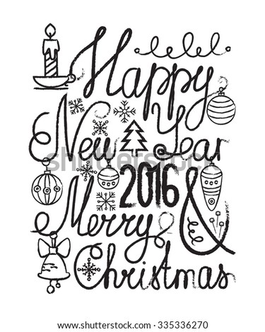 Happy New Year 2016 Lettering. Merry Christmas Lettering. Vector ...