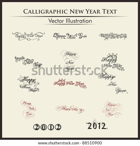 Happy new year lettering or typography by twelve styles of a writing on a simple background.