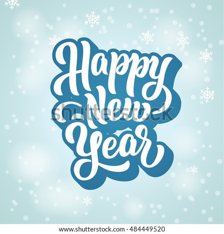 Happy New Year lettering text Illustration #484449520