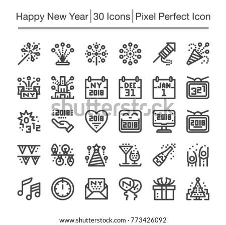 happy new year line icon,editable stroke,pixel perfect icon