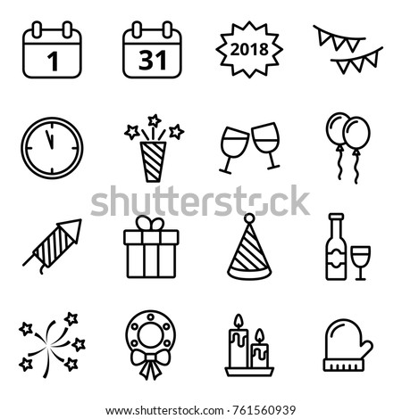 Happy New Year line icons set. Mono vector symbols