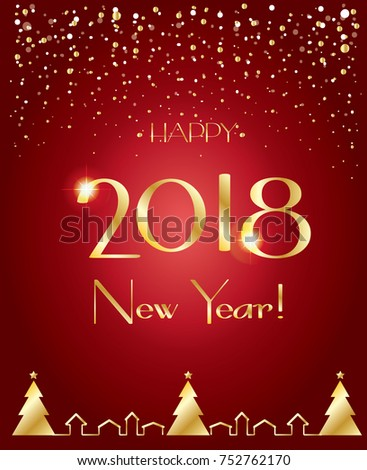 Happy new year 2018 luxury greeting card elegant christmas happy new year 2018 luxury greeting card elegant christmas decoration glitter gold snowflakes frame m4hsunfo