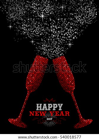 happy new year 2017 luxury red celebration toast in mosaic style ideal for holiday card
