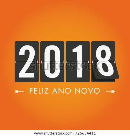Happy new year 2018 mechanical timetable. Portuguese version. Editable vector design.